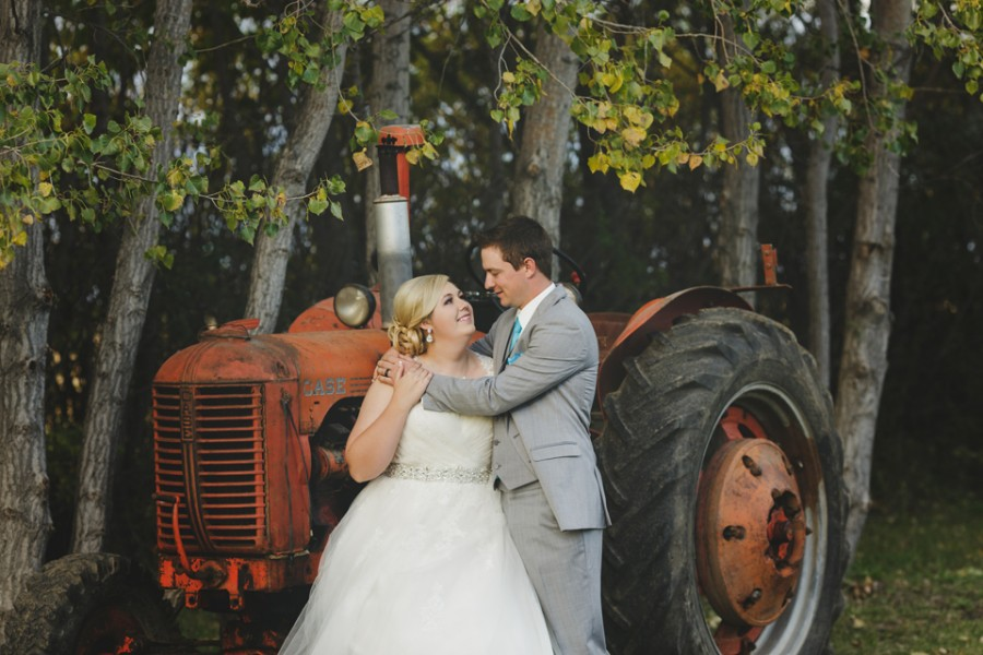 Rural wedding bride groom tractor